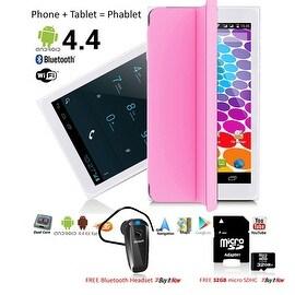 Indigi® Factory Unlocked 3G (2-in-1) SmartPhone & TabletPC w/ Built-In SmartCover + Bundle Included (Pink)