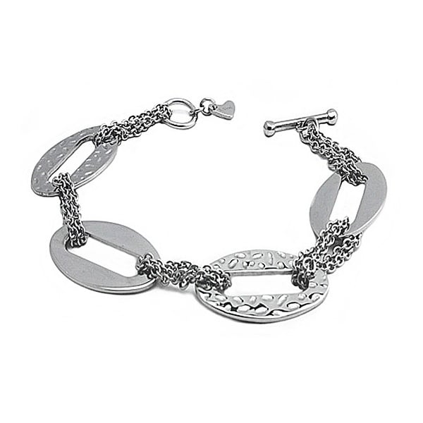 Stainless Steel Ladies Oval Links Bracelet with Toggle Clasp
