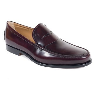 Tods Mens Classic Burgundy Leather Penny Loafers