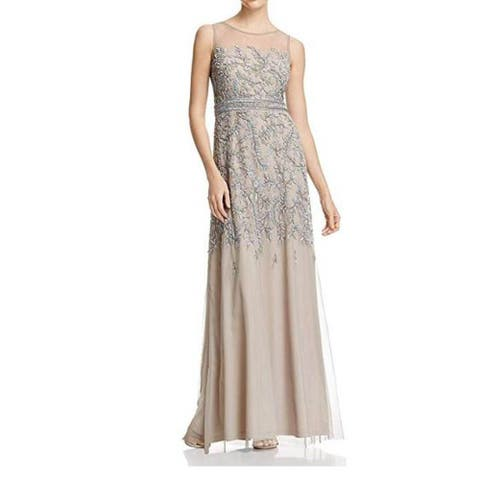 Adrianna Papell Fully Beaded Long Sleevless Gown Illusion Neckline, Platinum 10