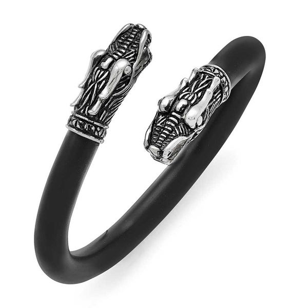 Chisel Stainless Steel Polished and Antiqued Leather Dragon Bracelet