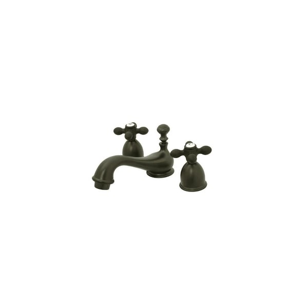 """Elements Of Design ES3955AX Double Handle 4"""" to 8"""" Mini Widespread Bathroom Faucet with American Cross Handles and Drain"""