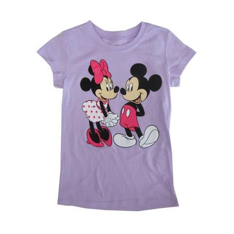 Disney Girls Violet Minnie Mickey Mouse Print Cotton T-Shirt