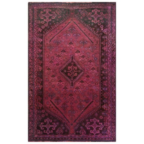 """Hand Knotted Red Overdyed & Vintage with Worn Wool Oriental Rug (3'8"""" x 5'10"""") - 3'8"""" x 5'10"""""""