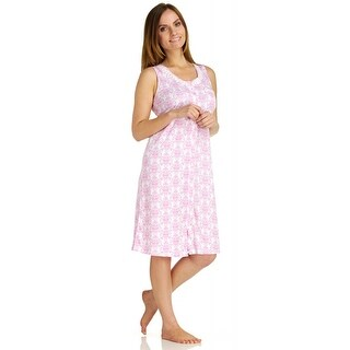 Body Touch Women's Pink Button Front Nightgown