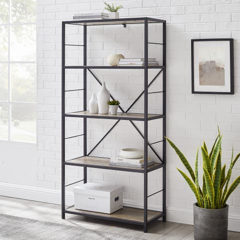 Carbon Loft Ora Grey Wash Industrial Mixed Material Bookshelf