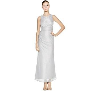 Laundry by Shelli Segal Metallic Knit Twist Back Evening Gown Dress