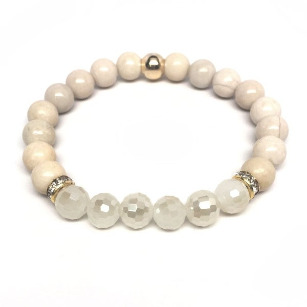 Ivory River Stone & Nude Crystal 'Glow' stretch bracelet 14k Over Sterling Silver