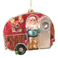 Kurt Adler Camping Trailer with Santa and Reindeer Glass  Holiday Ornament
