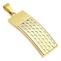 Honey Comb Gold IP Cross Stainless Steel Pendant (16 mm Width)
