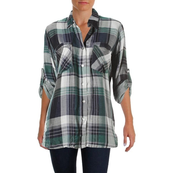 4Our Dreamers Womens Button-Down Top Plaid Adjustable Sleeves
