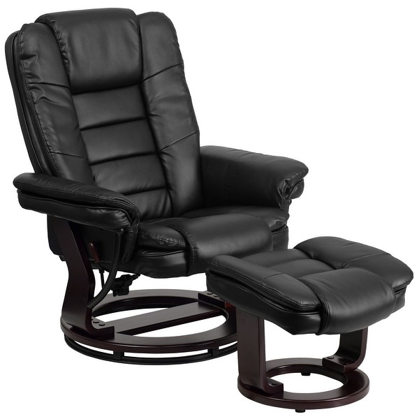 Contemporary LeatherSoft Recliner with Horizontal Stitching and Ottoman. Opens flyout.