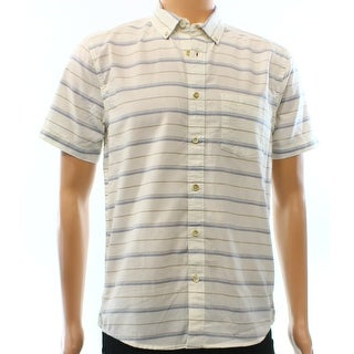 Quiksilver NEW White Ivory Striped Mens Size Small S Button Down Shirt