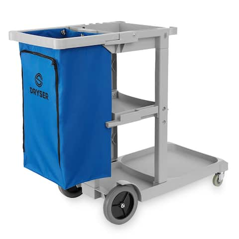 Commercial Janitorial Cart with Shelves and Vinyl Bag- Dryser