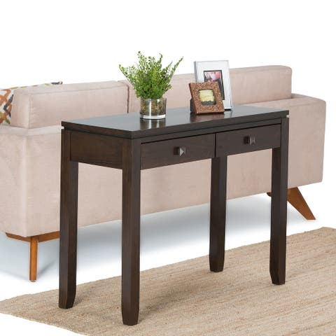 WYNDENHALL Essex SOLID WOOD 38 inch Wide Contemporary Console Sofa Table - 38 Inches wide
