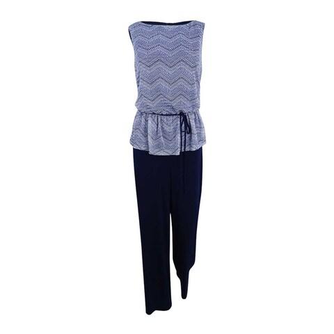 Connected Women's Printed Peplum Jumpsuit - navy