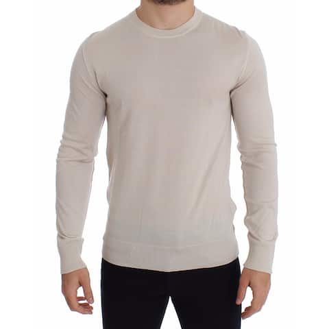 Dolce & Gabbana Cream Silk Cashmere Crew-neck Sweater Men's Pullover