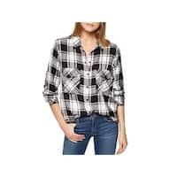 Sanctuary Womens Button-Down Top Snap Front Boyfriend