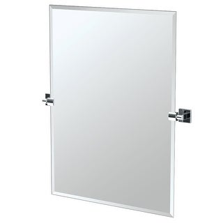 """Gatco 4059S  Elevate 27-1/2"""" Rectangular Beveled Wall Mounted Mirror with Chrome Accents"""