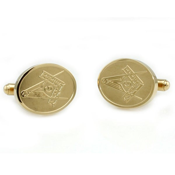 Gold Plated Stainless Steel Masonic Men's Cuff Links