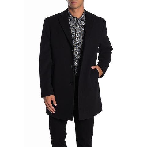 Calvin Klein Mens Coat Black Size 38S Peacoat Wool Notch-Collar