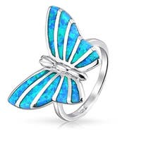 Lab Created Blue Opal Inlay Butterfly Animal Sterling Silver Ring