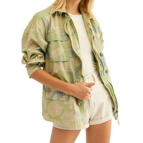 Free People Womens Jacket Green Size XS Military Camo Print Drawstring