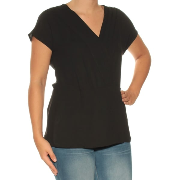 ANNE KLEIN Womens Black Pleated Short Sleeve V Neck Top Size: 6