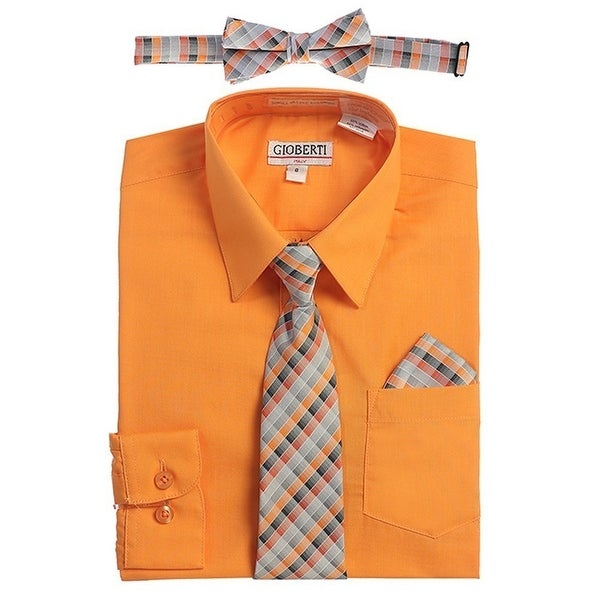 c48878a76 Shop Gioberti Big Boys Orange Tie Bow Tie Handkerchief Dress Shirt 4 Pc Set  - Free Shipping On Orders Over $45 - Overstock - 19402173