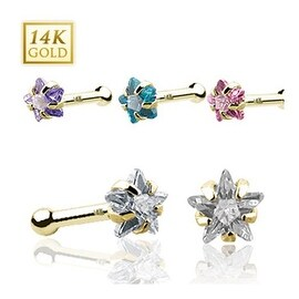 14 Karat Solid Yellow Gold Prong Star CZ Nose Stud Ring - 20 GA (Sold Ind.) (4 options available)