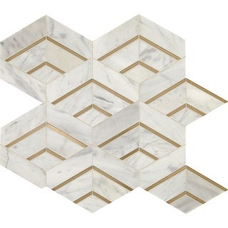"Daltile LVINTMXMS1P  Lavaliere - 14"" x 12"" Sheet Varied Deco Mosaic Wall Tile - Matte Marble Visual - Sold by Sheet"