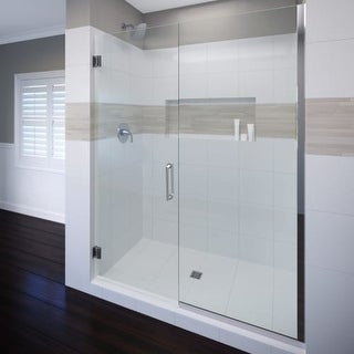"""Miseno MSDF5876-SWING 76"""" High x 58"""" Wide Hinged Frameless Shower Door with Clear Glass"""