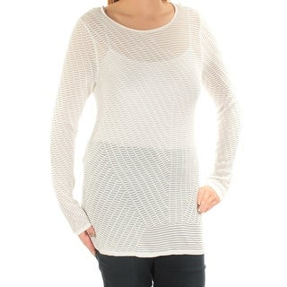 Womens Ivory Long Sleeve Jewel Neck Casual Top Size 2XS