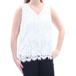 ALFANI $59 Womens New 1070 White Lace V Neck Sleeveless Casual Top 12 B+B