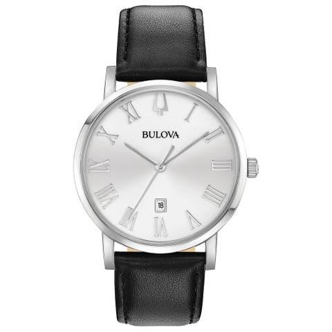 Bulova Men's 96B312 Stainless Roman Dial Black Leather Strap Watch