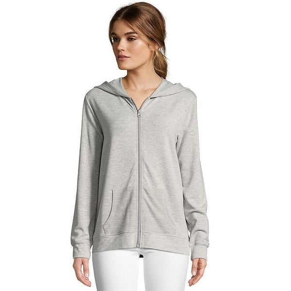 dfb2ee874b Shop Hanes Women s Heathered French Terry Zip Hoodie - Color - Light  Heather Grey - Size - XL - Free Shipping On Orders Over  45 - Overstock -  24142746