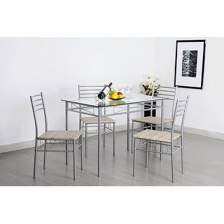 VECELO Glass Dining Table Set for 4