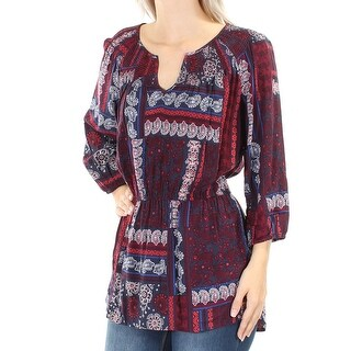 TOMMY HILFIGER Womens Burgundy Paisley 3/4 Sleeve V Neck Peasant Top Petites Size: S