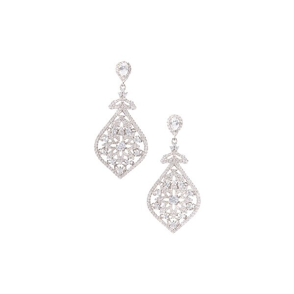 925 Sterling Silver Dangling Earrings with Cubic Zirconia