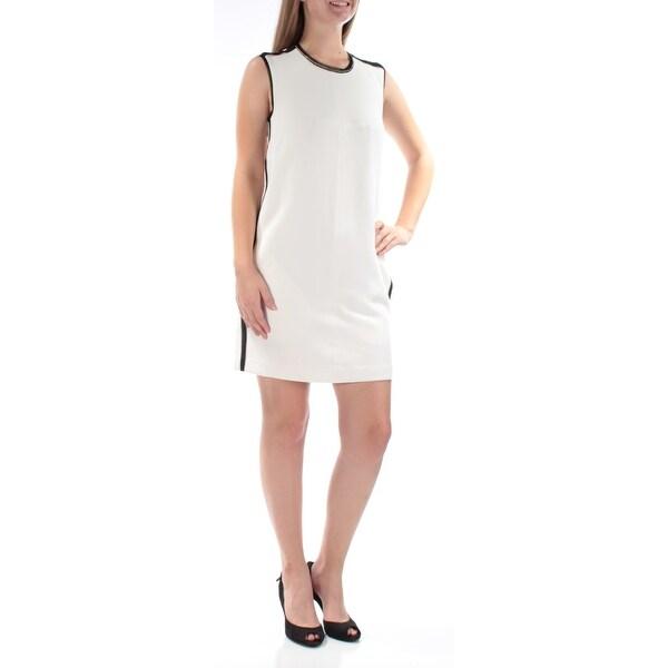 RACHEL ROY Womens White Sleeveless Jewel Neck Above The Knee Shift Dress Size: S