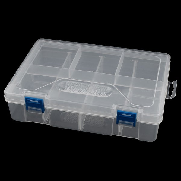 Unique Bargains Plastic Rectangle Double Layers 8 Slots Earrings Jewelry Holder Storage Box
