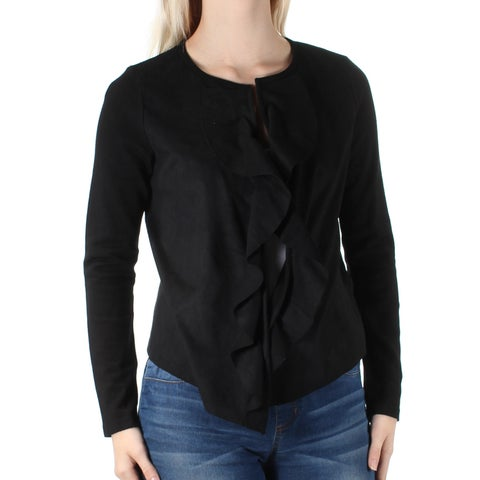 Womens Black Long Sleeve Open Casual Top Size S
