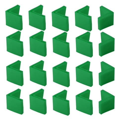 40mm x 40mm Angle Iron Foot Pads L Shaped PVC Furniture Chair Leg Caps End Covers Floor Protector Green 20 Pcs - 40 x 40mm