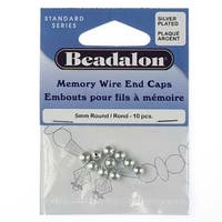 Beadalon Silver Plated Memory Wire End Cap Beads 5mm (10)