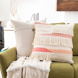 Link to Malin Hand Woven Boho Fringe 20-inch Throw Pillow Cover Similar Items in Decorative Accessories
