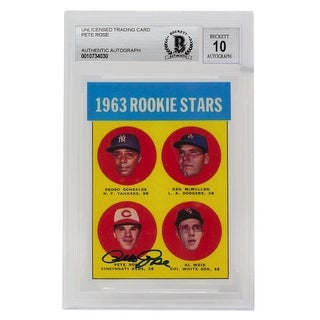 Pete Rose Signed 1963 Topps #537 RP Trading Card Auto Grade 10 BAS