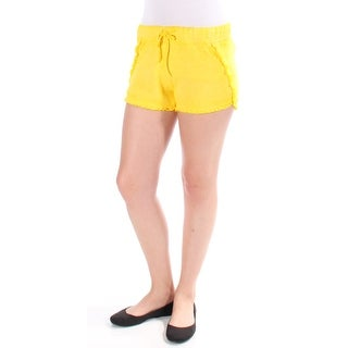 BETSEY JOHNSON Womens New 1189 Yellow Ruffled, Tie Cropped Casual Short S B+B