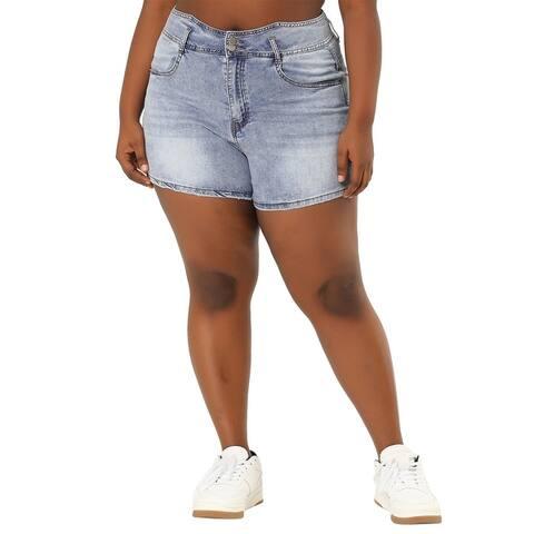 Plus Size Denim Shorts For Women High Waist Jean Short Pants - Blue