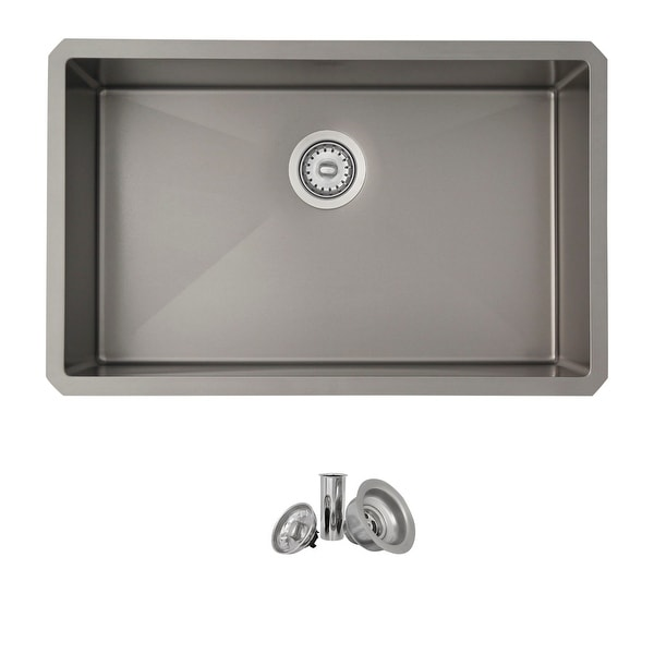 STYLISH 30 inch Single Bowl Undermount Stainless Steel Kitchen Sink in Graphite Finish. Opens flyout.
