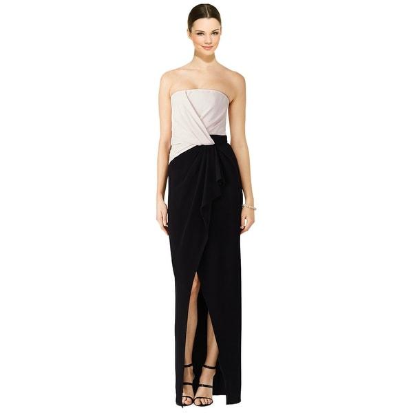 Shop J. Mendel Draped Colorblocked Strapless Evening Gown Dress - 8 ...